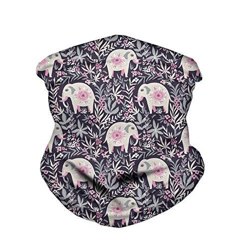 ECONG Floral Elephant Bandana Multifonction Guêtres de Cou Écharpe sans Couture Gaiter Neck Rapide Écharpe Salive Dust UV Outdoor Cycling Camping Randonnée