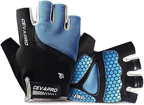 Cevapro Fahrradhandschuhe Herren, Fahrrad Handschuhe Halbfinger Gel Stoßdämpfung perfekt für Radfahren MTB Downhill Wandern Handschuhe für Herren Damen (Blau, Large)
