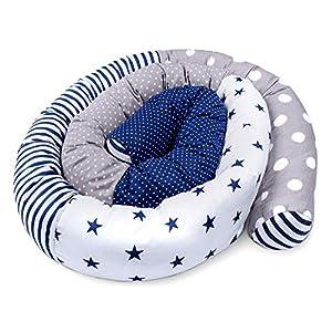 cojin serpiente patchwork - protector cuna chichonera cojin bebe cuna parachoques cuna Patrón de estrella azul, 300 cm