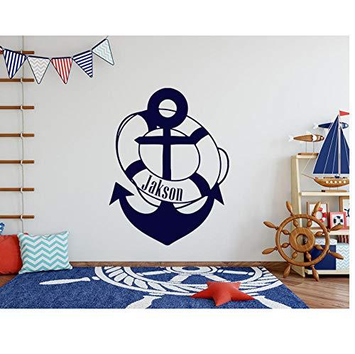 Wandaufkleber Vinyl Schwimmring Kinderzimmer Dekoration Kindergarten Kunst Nautischen Anker Junge 42X55 Cm