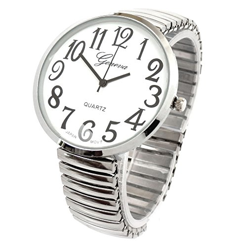 Ladies Large Number Face Large Stretch Band Watch Silver 1262S