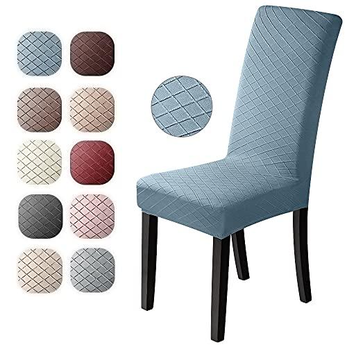 Fundas para sillas 4 Piezas Jacquard Funda de Silla Elástica Fundas elásticas Extraíbles y Lavables Comedor Cubierta de Asiento Duradera Modern Boda Decor Restaurante(Azul, Paquete de 4)