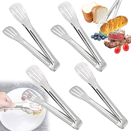 4 Pcs 9 Inch Stainless Steel Serving TongsBread TongKitchen Cooking Tongs for SaladToastBuffetSandwishBBQFrying