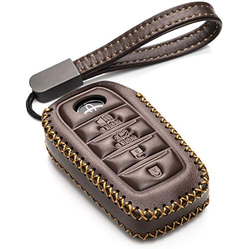 Prius Camry Avalon C-HR 4 Buttons, Black//Red Vitodeco Genuine Leather Remote Key Fob Case Cover Protector with Key Chain for 2019 Toyota Corolla Hatchback