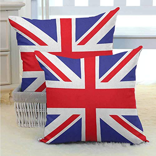 Polyester pillowcase Union Jack,Classic Traditional Flag United Kingdom Modern British Loyalty Symbol, Royal Blue Red White Silky Pillowcase Super Soft and Luxurious Pillowcase W16 x L16 inch x 2