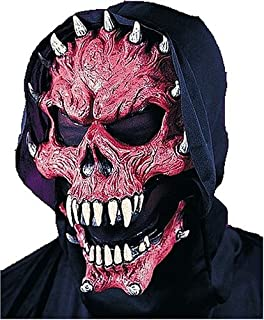 Click on Party Red Horned Devil Demon Mask with Cowl and Moving Jaw Halloween Costume Accessory