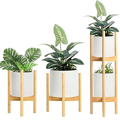 フラワースタンド 花台 2個入 積み重ね可能 竹製 鉢スタンド 幅30cmまで調整 て 植木台 て 丸いフラワーポットにフィット - 真ん中世紀 竹 花ポットホルダーは 近代的な家 装飾 ため 穀物