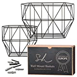Wall Hanging Fruit Basket - Farmhouse Wall Mounted Fruit Basket Set (of 2 Black) for use as Fruit or Produce Basket, Wall Planter, Wall Organizer Unit/Wire Baskets for Pantry