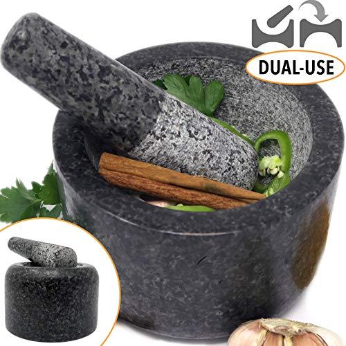 Ezo.Home Granit Stößel und Mörser groß Set – wendbar doppelseitig verwendbar, ideal für Mahlpaste, Pounding Gewürze und als Pillenzerkleinerer, Naturstein