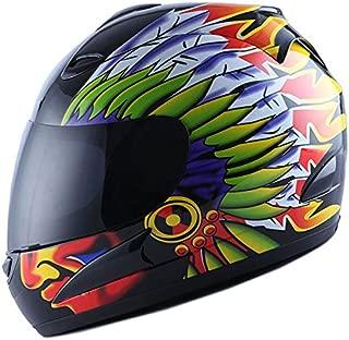 WOW Motorcycle Street Bike Full Face Helmet Racing Indian Chef Black