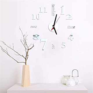 EvaFAST Wall Sticker Roman Numbers Wall Clock Pattern TV Backdrop Window Removable Water Resistant Decor Decals (Silver)