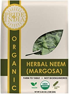 Pride Of India - Organic Neem/Margosa Herb, 100 gm Whole Leaf