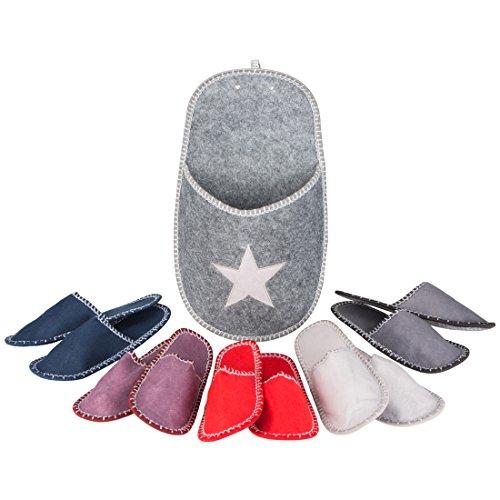 Levivo Set di pantofole per gli ospiti, 11 pz: 5 paia di pantofole per gli ospiti in feltro, 1 tasca-pantofola grande con stella, pantofole unisex, 5 diverse taglie e colori, tasca: grigio/bianco