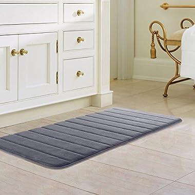 Drhob 47  x 24 Long Memory Foam Bath Mat Absorbent Carpet Runner Extra Soft Machine-Washable Bathroom Rug Kitchen Floor Bathmat with Non-slip Backing (Gray)