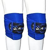 AQF Ginocchiere per Sollevamento Pesi Bendaggio Altamente Resistenti Elasticizzate Cinghie di Mantenimento Protezione Powerlifting, Squatting (Blu)