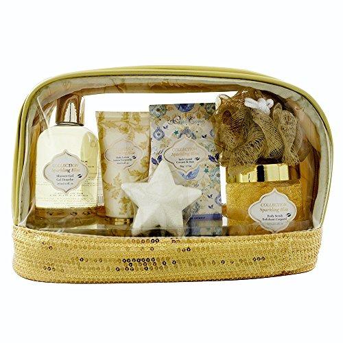 Gloss! Sparkling Bliss Trousse de Bain à Paillettes Fleur Blanche/Musk 6 Pièces, Coffret Cadeau-Coffret de bain