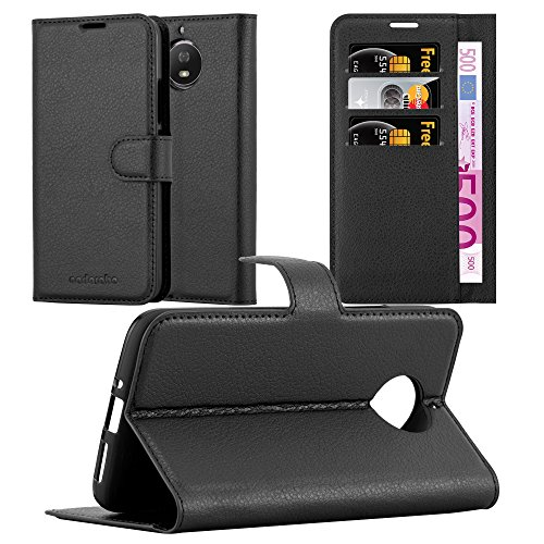 Cadorabo Hülle für Motorola Moto G5S - Hülle in Phantom SCHWARZ – Handyhülle mit Kartenfach & Standfunktion - Hülle Cover Schutzhülle Etui Tasche Book Klapp Style