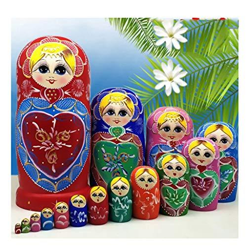 LUAN Matrioska Muñeca de anidación 15-PCS Patrón en Forma de corazón Madera Juguetes Juguetes Niños Regalos para niños Muñecas Rusas Matryoshka apilando muñecas Muñecas Rusas Matrioska