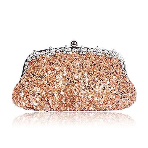 JIAGU Bolso de Fiesta Diamantes de imitación con Cuentas de Las Lentejuelas Bolso del Banquete del Hombro Paquete Diagonal (Color : Champagne, Size : 25cm x 12cm)