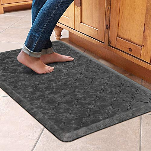 """WiseLife Kitchen Mat Cushioned Anti Fatigue Floor Mat,17.3""""x28"""", Thick Non Slip Waterproof Kitchen Rugs and Mats,Heavy Duty PVC Foam Standing Mat for Kitchen,Floor,Home,Office,Desk,Sink,Laundry, Grey"""