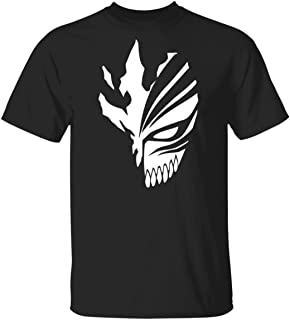 Cool Bleach Hollow Mask T Shirt Funny Ichigo Bankai Anime Cosplay Black Top Novelty Mens T-Shirt