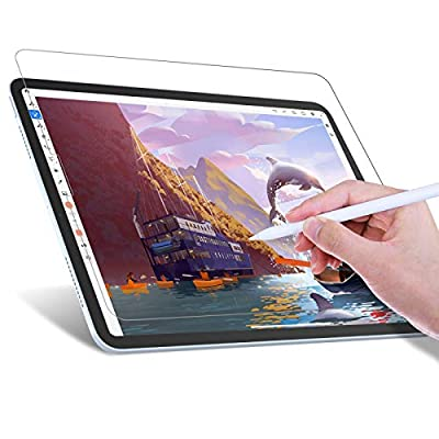 JETech Write Like Paper Screen Protector Compatible with iPad Air 4 10.9-Inch (4th Generation), iPad Pro 11-Inch (2020 and 2018 Model), Anti-Glare, Matte PET Paper Film for Drawing