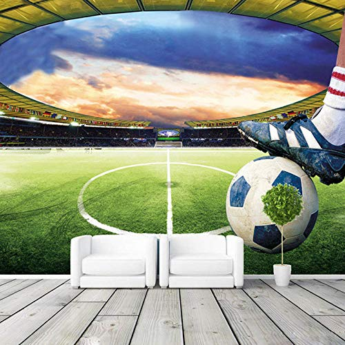 DZBHSCL 4D behang wandschilderingen, creatieve voetbalveld voetbal sport Hd kunstdruk grootte fotobehang zijde wandschilderij voor stadion restaurant studie cafe bar muur decoratief 76in×108in 190cm(H) X 270cm(W)