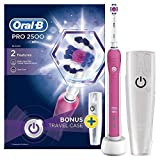 Oral-B Pro 2 2500W 3D White Electric Rechargeable Toothbrush, Pink Handle, 2 Modes: