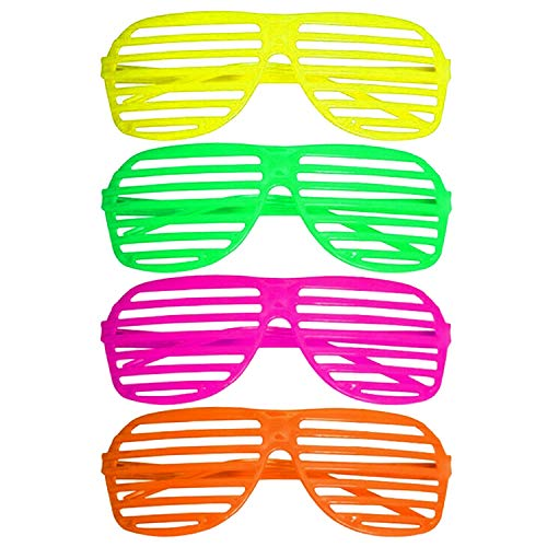 Neon Shutter Shades Pack of 4. You're guests will look totally 80's wearing these.
