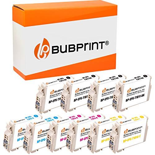 Bubprint CARTUCCE PER STAMPANTI compatibile per Epson T1811 T1812 T1813 T1814 - Nero, 1010 Set