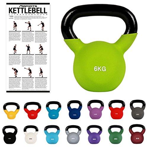 MSPORTS Kettlebell Neopren 2 – 30 kg inkl. Übungsposter (6 Kg - Grün) Kugelhantel