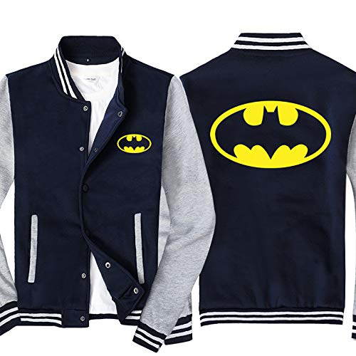 RLJqwad Giacche da Uomo Full Zip Felpe 3D Batman Stampa Manica Lunga Casual Fashion Trend Sport Top Stand Collar Uniforme da Baseball-Teen Gift C-5XL