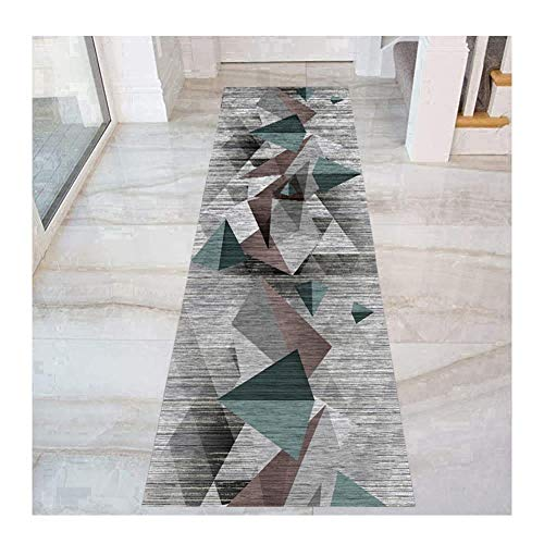 HAIPENG Geometric Runner Rug with Non Slip Backing, Narrow Hallway Carpet for Hotel Corridor Kitchen Staircase Entrance Mat, Non Shed (Color : Multi-colored, Size : 120x350cm)