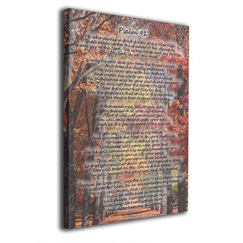 CAPTIVATE HEART Psalm 91 Forest Foto Christliche Bibel Leinwand Druck Kunst Holzrahmen Home Wall Decor Bild Bilder Bilder Giclée-Wohnzimmer Esszimmer Schlafzimmer Büro Modern 20,3 x 30,5 cm