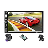 Double Din Car Stereo Touch Screen 7 Inch Car Audio Receiver with Backup Rear View Camera Remote, Car FM Radio MP5 Multimedia Player USB/SD/AUX Input Handsfree Phone MirrorLink for Android iPhone