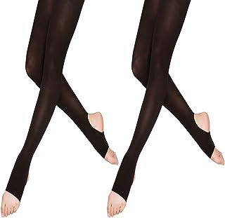 9f77eb0d2a660 LeerKing DANCEYOU 2 paires 70 deNier Étrier Ballet Danse Collant élastique  Opaque Jambières four Fille et