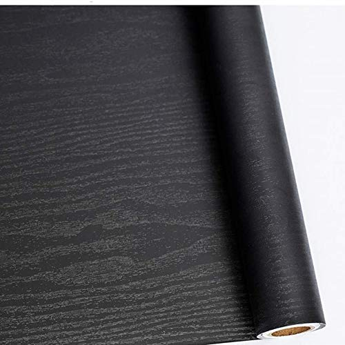 Papel Adhesivo para Muebles Madera Negro 30 cm x 200 cm Impermeable Vinilos Decorativos Papel Pintado Autoadhesivo Decorados Adecuado para mostrador de Cocina, Muebles, Armario, Tocador