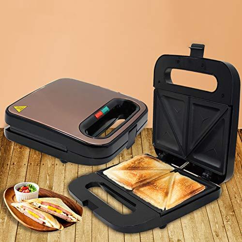 Luxus 2-slice Sundwich Hersteller Mit Deep Fill Nicht-stick Platten Nicht-slip Füße Und Touch Hundle 750w Edelstahl Toaster Toastie Waschmaschinengeeignet-braun 23x23x8.5cm(9x9x3inch)