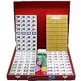 Juego clásico de Mahjong Juego de juegos de mahjong chino con estuche de viajes que incluye 144 diques de baldosas, 3 dados y un indicador de viento, juego de juegos de Mahjong completo Viajar tiempo