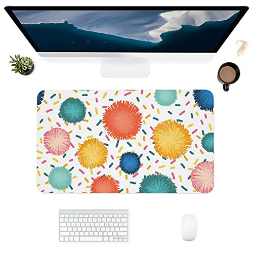 HUBNYO PompomLeather - Alfombrilla de escritorio para oficina, superficie lisa, fácil de limpiar, resistente al agua, protector de escritorio para oficina, juegos en casa