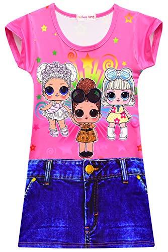 Meisjes jurken zomerjurken casual ronde hals T-shirt jurk blousejurk partyjurk avondjurk mini-jurk 130 roze