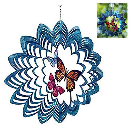 QoFina 3D-Metall-Windspiel für den Garten,Windspinning 30,5 cm,Garten Dekorationen hängend Wind Spinning Hof Kunst Dekorationen für Innen und Außen
