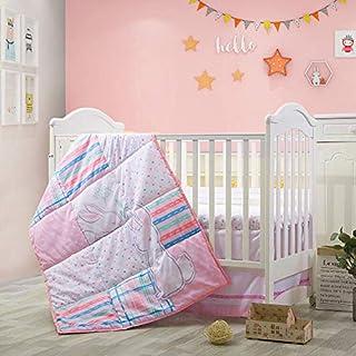 Little-Grape-Land Bunny Crib Bedding Set | 3 Piece Standard Size Nursery Set in Pink, White, Grey, Purple, Aqua & Blue