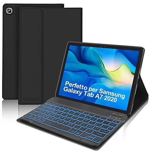 SENGBIRCH Custodia con Tastiera per Samsung Galaxy Tab A7 2020 10.4 (SM-T505 T500 T507), Tastiera Italiano Bluetooth con Retroilluminato, Custodia Sottile con Auto Svegliati Sonno, Nero
