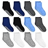 HYCLES ABS Socken Kinder - 12 Paar Baby Jungen Kleinkind Rutschfeste Socken für 1-3 Jahre Schwarz+Marine+Weiß+Dunkelgrau+Hellgrau+Blau