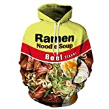 PIZOFF Unisex 3D Digital Ramen Noodle Beef Hoodie Pullover Long Sleeve Hooded Sweatshirts Pockets AM006-02-L
