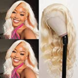 613 Blonde Lace Front Wig Human Hair 13x4 Pre Plucked 613 Lace Frontal Wig with Baby Hair 150% Density Free Part Body Wave Blonde Human Hair Wigs for Black Women Bleached Knots (18inch)