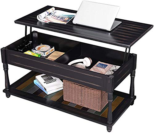 Qyz Lift-Top Large Side Table, With Turned Solid Wood Legs, Cocktail Table With Storage Compartment And Colourful Shelf Personalized living room