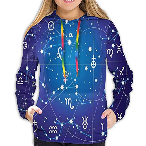 Women's Hoodies Tops,Constellation of Zodiac and Planets Original Coordinates of Celestial Body Pattern,Hoodie Sweatshirt Apparel for Women,Lady, Teens and Girls,Size:XXL