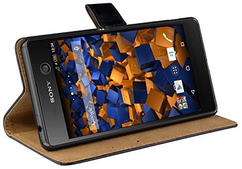 mumbi Echt Leder Bookstyle Case kompatibel mit Sony Xperia M5 Hülle Leder Tasche Case Wallet, schwarz